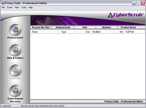 CyberScrub Privacy Suite Screen shot